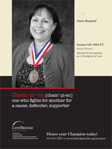 Suzanne Seff, MBA PT Selected by her patients as a Champion of Care
