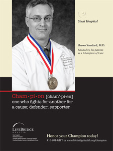 Shawn Standard, M.D. Selected by his patients as a Champion of Care