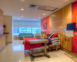 View of the sleeper sofa and sleeping chair which are in each patient room